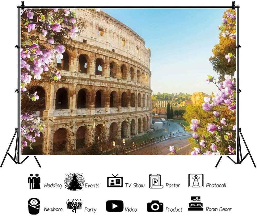 DaShan 14x10ft Spring Flowers Rome Colosseum Backdrop Itlay World Famous Historic Site Landmark Wedding Photography Background Vlogger Blogger YouTube Kids Adults Photo Video Studio Props