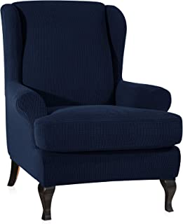CHUN YI 2-Piece Stretch Jacquard Spandex Fabric Wing Back Wingback Armchair Chair Slipcovers (Dark Blue)