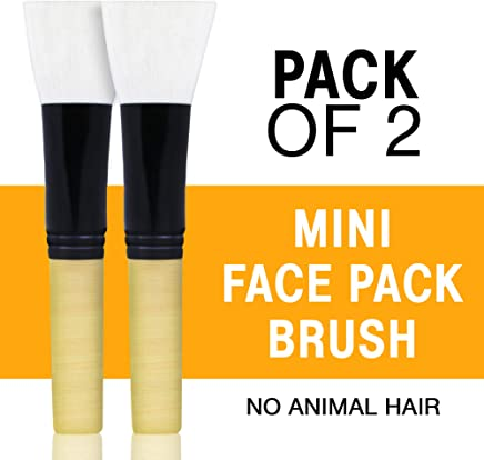 Bella Vita Organic Mini Face Pack Brush For Face Mask For Women & Men, 2 Pack, No Animal Hair With Natural Wooden Handle