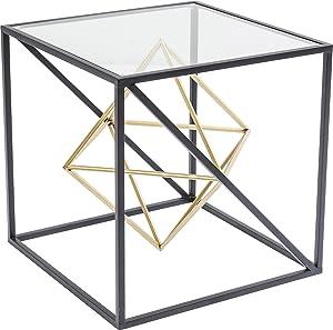 kare design–Tavolino 45x 45cm Acciaio Nero e Oro Prisma
