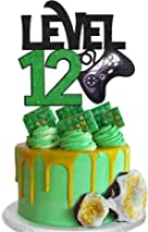 Level 12 Game Birthday Cake Topper - Video Game Boy's 12th Birthday Level Up Party Cake Supplies - Game On Winner Gaming Party Decorations