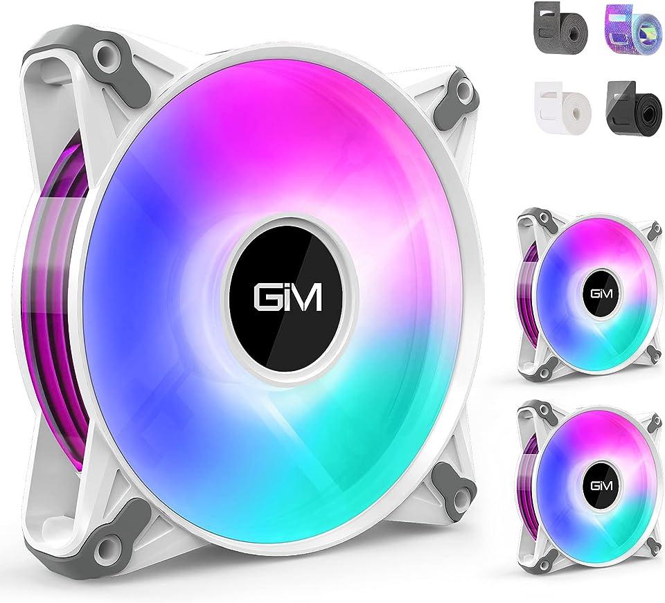 GIM CF-P20 DIY 120mm PWM Lüfter, 3er Pack RGB Lüfter mit 12 wechselbare Streifen, Adressierbar und SYNC Leiser PC Lüfter für 5V 3Pin ARGB M/B ASUS, MSI, Gigabyte, ASRock usw, Weiß