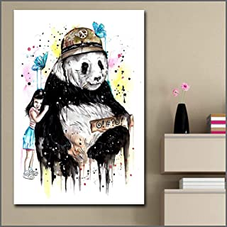 GUDOJK Decorative Paintings Fashion Printing Oil Painting Abstract Panda Love Wall Art Canvas Print Pictures for Living Room and Bedroom Unframed-60x80cm