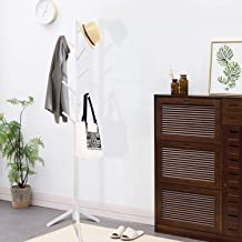 Clewiltess Wooden Tree Coat Rack Stand, 8 Hooks Super Easy Assembly, Hallway/Entryway Coat Hanger Stand for Clothes, Suits...