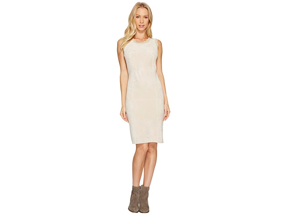 Calvin Klein Sweater Dress with Suede Front (Latte) Women