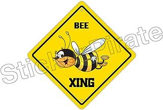 StickerPirate Bee Crossing Funny Metal Novelty Sign Aluminum