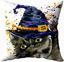 ROOLAYS Halloween Deco Pillow Covers, Square Throw Pillowcase Covers 20X20Inch,Halloween Witch Cat Watercolor Both Sides Farmhouse Decor Cushion,Orange Gray