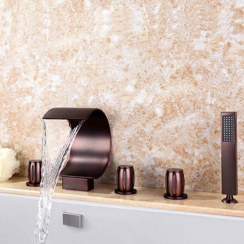 Wasserhahnbadezimmer Waschbecken Wasserhhne 5 Stücke Verbreitet Wasserfall Badewanne Dusche Wasserhahn Bad Mischbatterie Deck Montieren Kugel Farbe