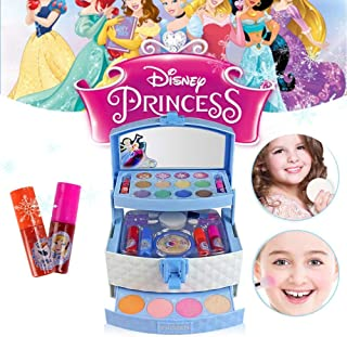 Blueyouth 32PCS Cosmetic Kit For Disney Ice Princess Makeup Toy | Washable And Non Toxic | Portable Play House Party Cosmetics Toy | Ideal Gift For Girls.