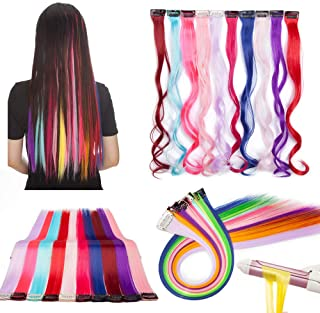 Highlight Strip Hair Extensions Clip in Rainbow Hair Clips Hair Piece Accessories 22 Inches Colorful Color 10 Pieces Highl...