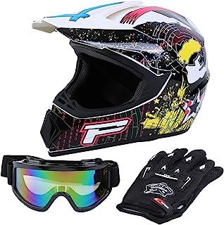 Samger DOT Erwachsener Off Road Helm Motocross Helm Dirt Bike ATV Motorrad Helm Handschuhe Brille Weiß, L