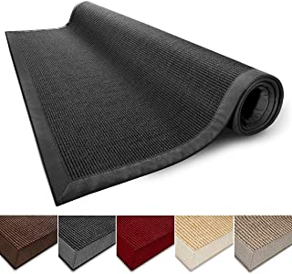 casa pura Sisal Rug Runner - 100% Natural Fiber Area Rug | Non-Skid Rustic Entryway Rug, Living Room Carpet or Kitchen Rugs and Sizes | Black - 6'x9'