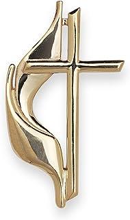 JewelryWeb Solid 10K Yellow Gold Large Methodist Cross Lapel Pin for Men (10x19mm)