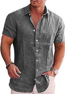 COOFANDY Men's Casual Linen Cotton Plaid Shirt Button Down Chambray Shirt