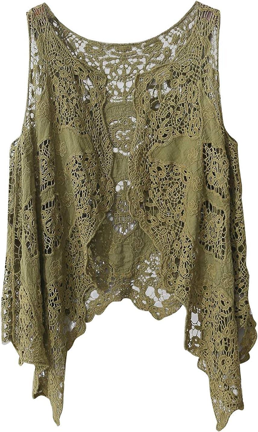 Flygo Women's Cotton Cardigan Boho Hippie Open Hollow Knitting Stitch Sleeveless Crochet Vest