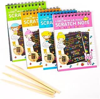 AGREATLIFE Cuadernillos para Rascar Scratch Art | 4 Cuadernos para Dibujar Y Colorear En Papel Rainbow Negro con 4 Lápices | Libro Creativo De Manualidades para Niños |14 x 11.5 Cm