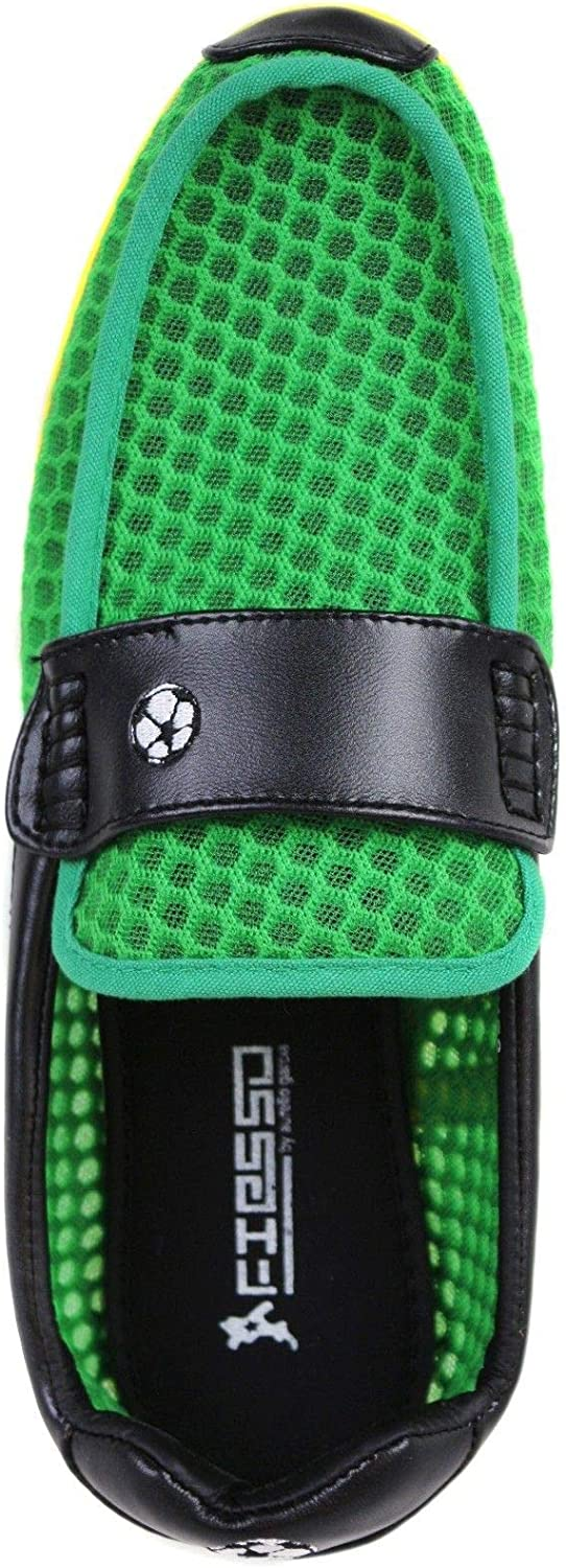Fiesso Men's Soccer Football World Cup Jamaica 2018 Mesh Slip On Moccasins Loafers Shoes (Green/Black/Yellow)