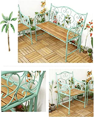 Outdoor Patio Garden Metal Benches, Retro Durable Cast Iron Solid Wood Park Benches, Patio Balcony Seats,Leisure Seats with P