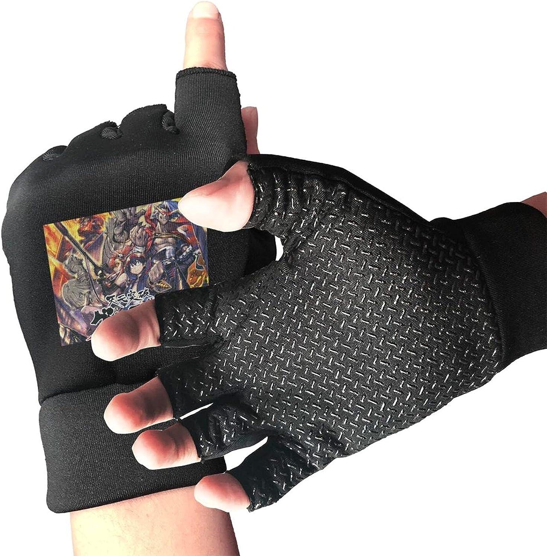 Gurren Lagann Knitted Mittens Gloves Stretchy Warmer Fingerless Non Slip Gloves For Unisex