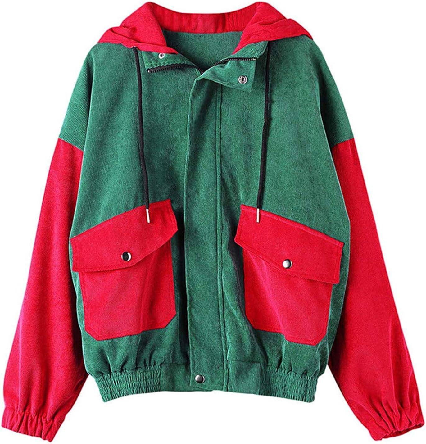Yeokou Women's Loose Colorblock Drawstring Hoodie Corduroy Baseball Jacket Coats