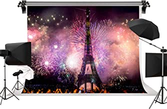 Pink Eiffel Tower Photography Backdrop 9x6 FT Paris Backdrop for Party City Backdrop Beautiful Fireworks Background for YouTube or Urban Photo Booth Backdrop Banner Props ST960065