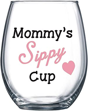 Mommy's Sippy Cup - Funny Wine Glass 15oz - Mother's Day Gift for Mom, Gift Idea for Her, Birthday Gift for Mom - Eve