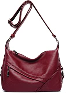 Womens Retro Sling Shoulder Bag from Covelin, Leather Crossbody Tote Handbag