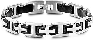 Steve Madden Black IP Plated Stainless Steel Cross Bracelet for Men