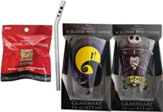 Pocket Nightmare Before Christmas Figure Mystery Mini Backpack Hanger Keychain + Character Jack Skellington Collectible Drink Glass & Straw 2 Items
