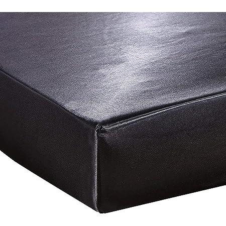 Vommpe Drap Housse Satin 140x190cm Bonnet 30cm lit 2 Personne (Noir-140x190x30cm)