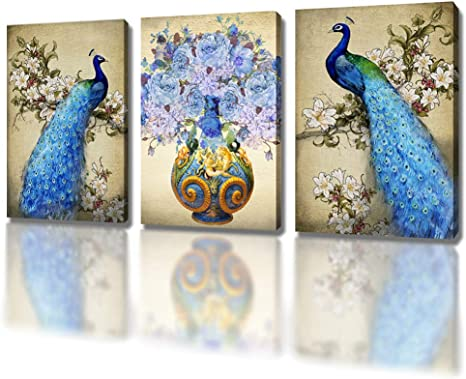 Dxyjuyi Peacock 3 Panel Modern Stretched And Framed Animals Artwork Landscape Giclee Canvas Prints Pictures Paintings On Canvas Wall Art For Living Room Bedroom Home Decorations Posters Prints
