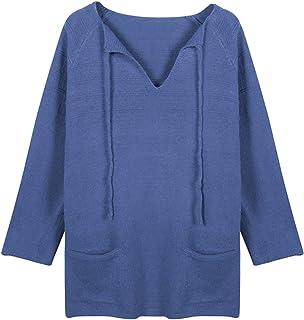 Suéteres con cordón para Mujer, 2 Bolsillos, jerséis Sueltos con Cuello en V, Jersey Suave Suelto, Elasticidad, Sudadera L...
