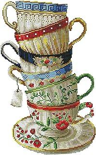 F Fityle Kreuzstich Stickerei DIY Handarbeit Stickpackung Set, Kaffeetasse, Stickbild Stickvorlage vorgedruckt Sticken Stickset Handwerk - 28 × 42 cm 14CT