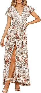 ZESICA Women`s Bohemian Floral Printed Wrap V Neck Short Sleeve Split Beach Party Maxi Dress