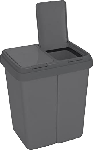 Ribelli Zweimer Duo Müllbehälter mit Deckel Kunststoff Mülleimer für die Küche geruchsdichter Abfalleimer Mülltrennsystem 2 x ca. 25 Liter – Farbe:…