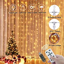 LEDGLE Decorative String Light Fairy Curtain Lights Versatile Indoor and Outdoor Icicle Light with Wireless Remote Control IP65 Waterproof Warm White Light