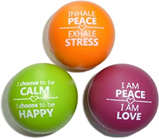 Stress Balls for Kids and Adults Motivational   Anxiety Stress Relief and Hand Therapy Exercise Strengthening Squeeze Foam Fidget Toy - 3 Pack (2 Variations)