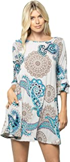 Ruffle Layered Sleeve A-line Tunic Dress Pocket Animal Floral Regular Plus Size