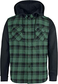 R.E.D. by EMP Hooded Checked Flanell Hombre Camisa de Franela Negro-Verde