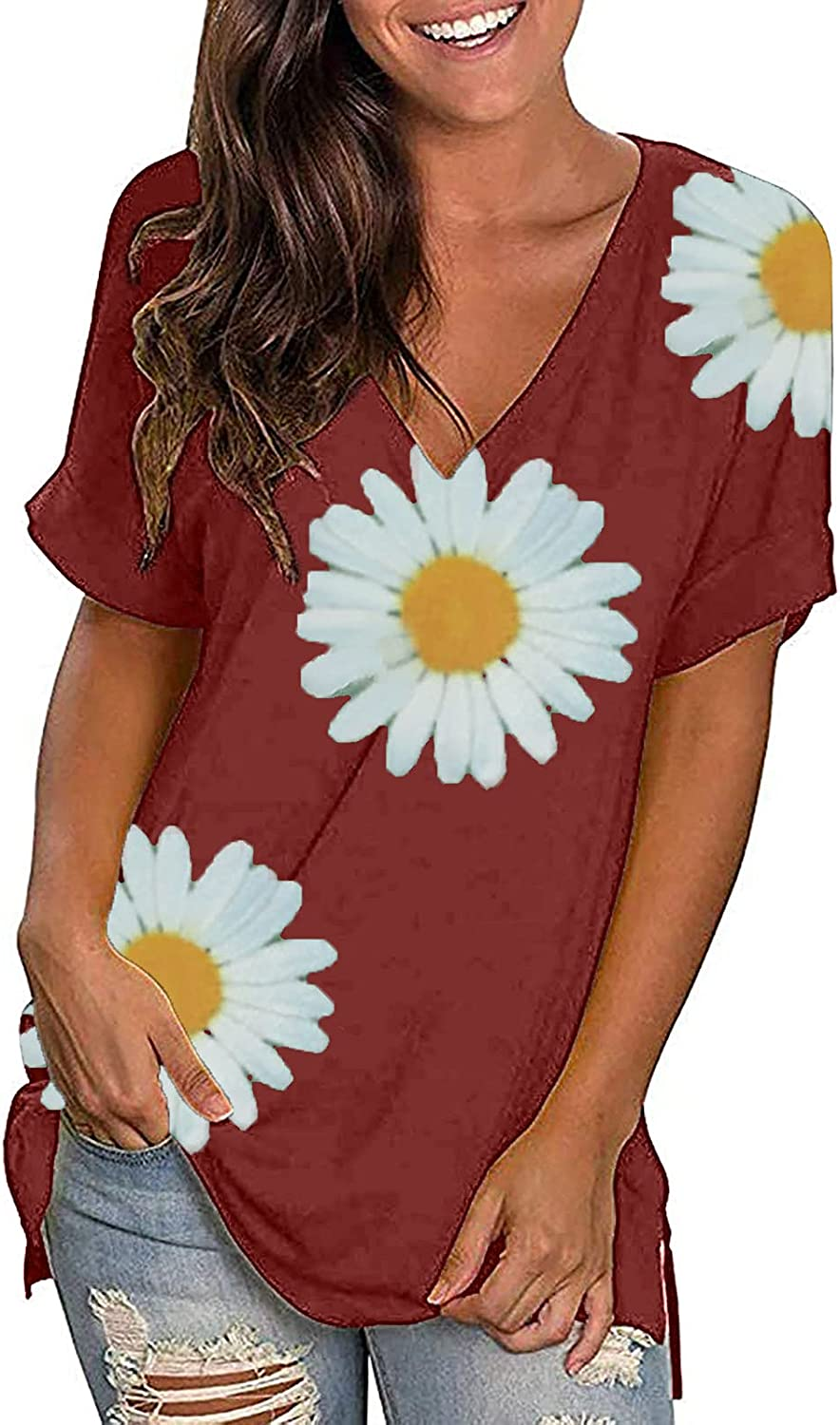 womens summer tops Sales Short Popular products Sleeve Shirts V-Neck Sunflower Print T