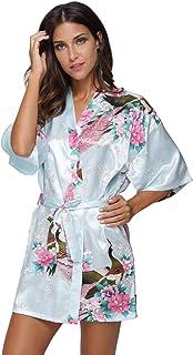 Original Kimono Women's Short Satin Kimono Robe Floral Peacock Patterned Bathrobe Silky Bridal Nightwear