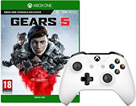 Microsoft Xbox One Wireless Controller (White) with Gear 5 Game Bundle