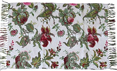 Decorative Soft Cotton Rug 24X20 Inch, Colorful, Floral (White)