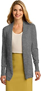 Port Authority Ladies Open Front Cardigan Sweater. LSW289 Medium Heather Grey