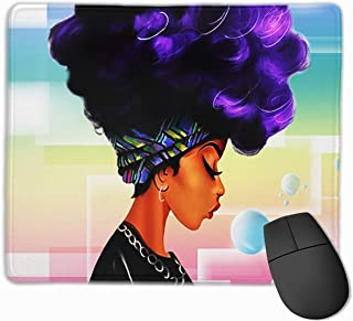 Cute Large Mouse Pad with Design Fashion African Ethnic Women with Purple Hair for Computer Office Gaming,11.8x9.8x0.09 Inch
