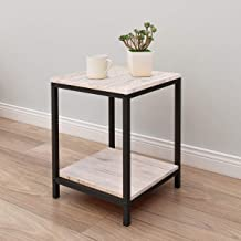 Side End Table Coffee Snack Console Tables Slides Next to Sofa Couch Beside with Storage Shelf and Metal Frame for Home Living Room