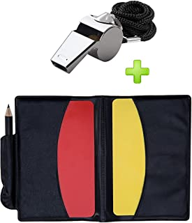 Golvery Soccer Kit - Metal Whistle with Referee Cards Set, Referee Cards for Soccer Football, Ideal Referee Kits for Game Sports