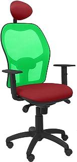 PIQUERAS Y CRESPO Modelo Jorquera - Silla de oficina ergonómica con mecanismo sincro, brazos regulables y ajustable en altura - Respaldo de malla transpirable en color verde y asiento tapizados en tejido BALI color granate (CON CABECERO)