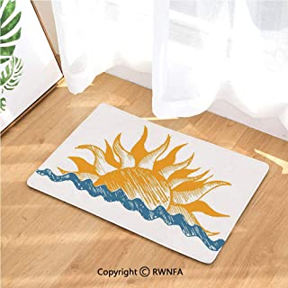 Flannel Bath Mat The Source of Life Sun with Fire Like Beams and Wave Like Clouds Image Luxury Cushioned Pad for Bathroom Floors Non-Slip, Absorbent, Baby Shower Mats and Dries Feet,Yellow and Blue