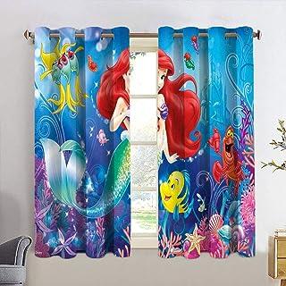 Total Blackout Rideaux de fenêtre occultants Motif La Petite Sirène Ariel Princesse Ensemble de rideaux pour chambre d'enf...